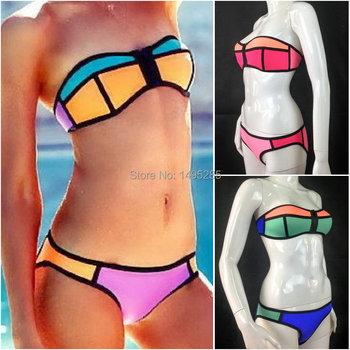 Летнее треугольное бикини Сексуальный пляжный купальный комплект из неопрена контрастных цветов - LB002