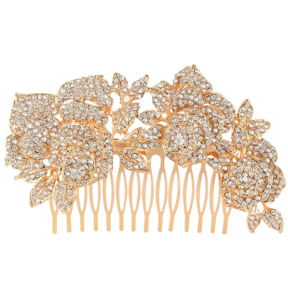 BELLA 2015 New Rose Gold Bridal Flower Rose Hair Comb Pins Austrian Crystal Head Piece For Wedding Hair Piece Bridesmaid Jewelry<br><br>Aliexpress