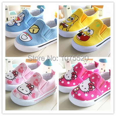 New 2015 children shoes sneakers canvas hello kitty cat or doraemon running sport girls and boys shoes female 1 - 4 year old(China (Mainland))
