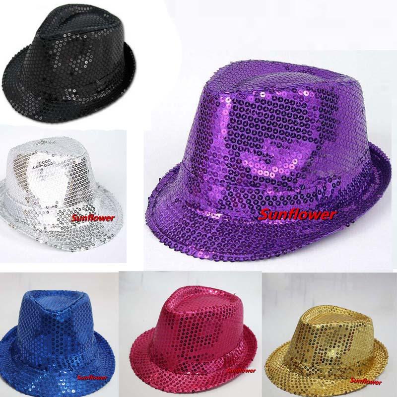 Adult Women Men Sequins Jazz Hat Glitter Trilby Dance Hats Cap Wedding Carnival Party Fun Decoration(China (Mainland))