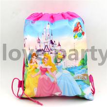 1Pcs Three Princess Drawstring Bags Boys Girls Cartoon School Bag Children Printing School Backpacks for Birthday Party Gifts(China (Mainland))
