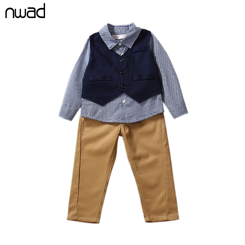 3PCS/ Set Baby Clothing Sets 2016 Leisure Plaid Kids Baby Boy Suit Vest Gentleman Clothes For Weddings Formal Clothing FF022(China (Mainland))