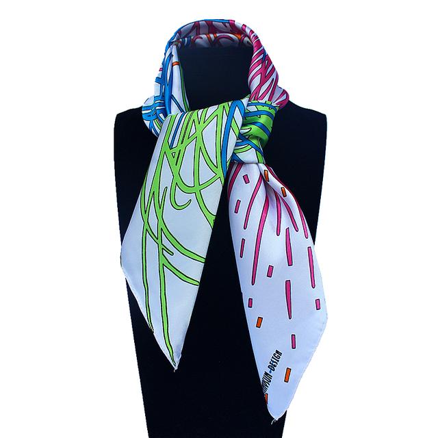 60 см * 60 см женщин 2016 новинка подражали шелк геометрическая линия обуви фейерверк напечатанный небольшая площадь шарф горячая распродажа