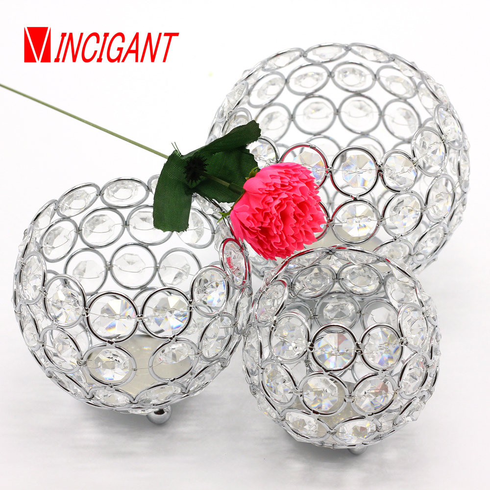 VINCIGANT Crystal bowl candle holder votive candle lantern for wedding decoration tealight holder home decor candelabra set of 3(China (Mainland))