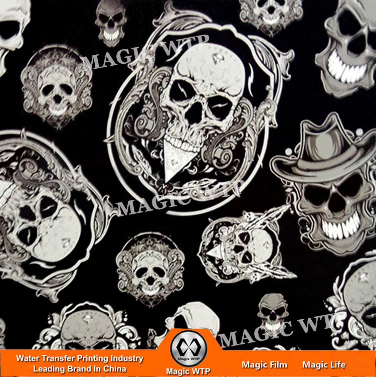 New Arrival No.MLGD037 Water Transfer Printing Film Hydrographics Skull Design Hydrographic Printing Water Transfer Film(China (Mainland))