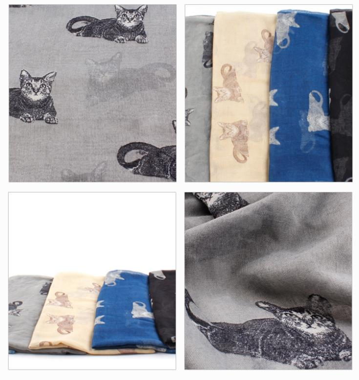 Fashion Lovely Cat Animal Printed Scarves 2015 Spring Summer New 100% Polyester Scarf Beach Shawl Wrap(China (Mainland))