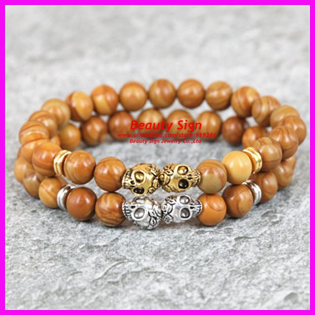 10pcs Silver/Gold two Skull Heads Bracelet,Natural Quartz Stone 8mm Beads Bracelet,Yoga Mala Bracelet for Men.(China (Mainland))
