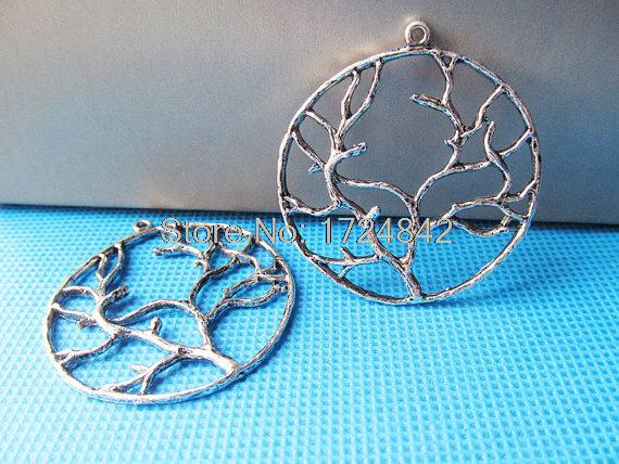 8pcs--Tree of life charms, Antique Silver Large Round Lucky Trees Charms Pendants 40x40mm(China (Mainland))