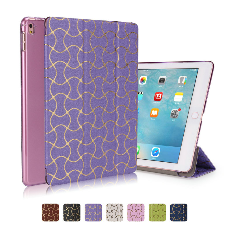 for ipad air 2 case wave pu leather smart wake up sleep with matte transparent plastic PC back case For ipad 6 full protect(China (Mainland))