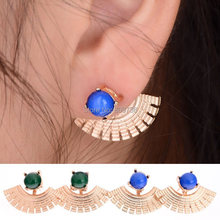 Vintage Fan Shaped Golden Brincos Studs Earrings For Women Green Crystal Charm Jewelry Accessory Gift Wholesale Drop Ship(China (Mainland))