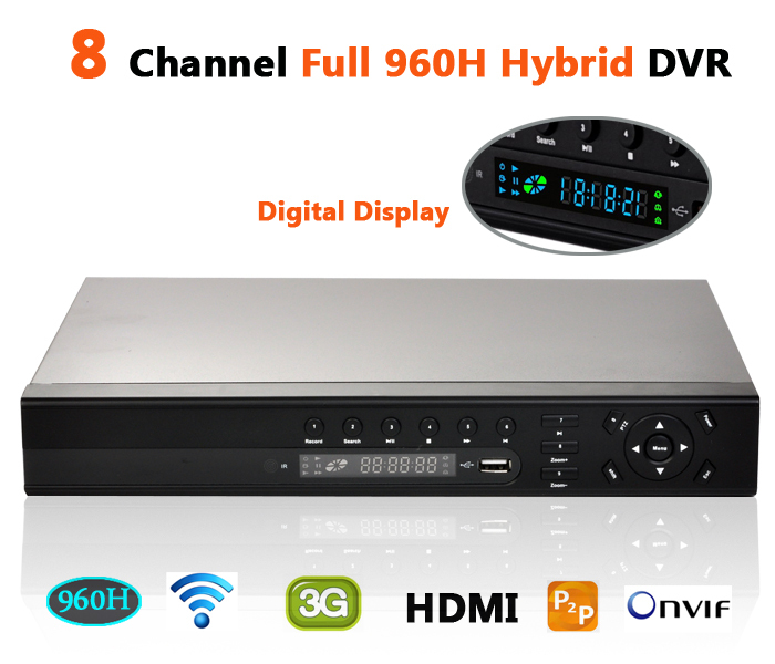 CCTV 8ch hybrid dvr stand alone digital display alarm hdmi p2p cloud full 960h full d1 security hvr nvr onvif ip dvr 8 channel(China (Mainland))