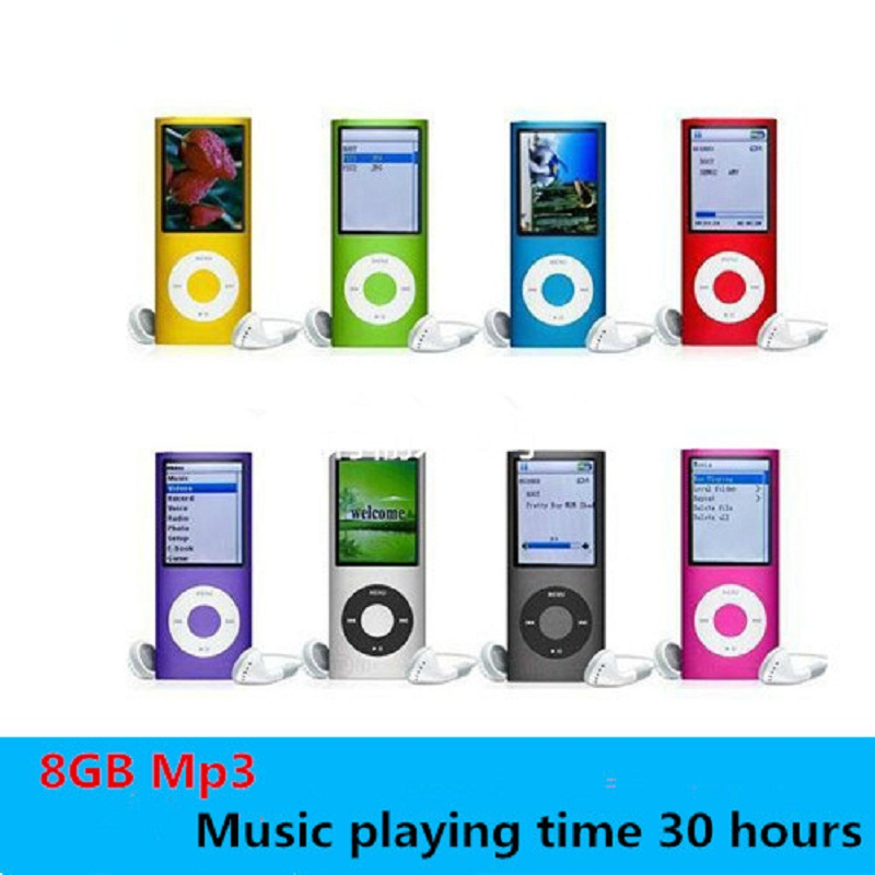 slim 4th gen mp3 player real 8GB 9 Colors for choose Music playing time 30Hours fm radio video player(China (Mainland))