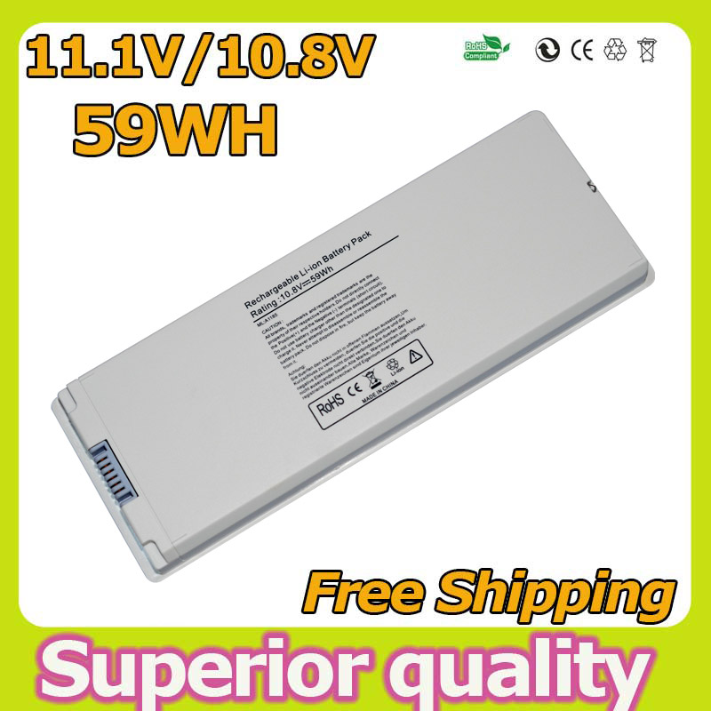 """white 59wh 10.8v Laptop Battery for Apple MacBook 13"""" A1181 A1185 MA561 MA566 MA561J/A MA254 MA255 MA472 MA699 MA700(China (Mainland))"""