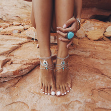 Boho Summer Style Multilayer Silver Chains Turquoise Beads Anklet Foot Natural Stone Flower Vintage Jewelry Bracelet Accessories(China (Mainland))