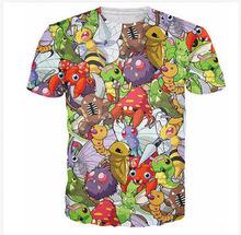 Buy Cute Anime Cartoon Character 3D T Shirt Tops Original Bug Pokemon Collage T-Shirt Women/Men Summer Kawaii T Shirts Tees for $15.99 in AliExpress store