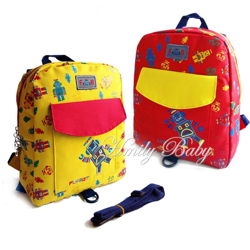 fashion kid bag child school bags cute robots prints backpack for boys 1 3 baby. Black Bedroom Furniture Sets. Home Design Ideas