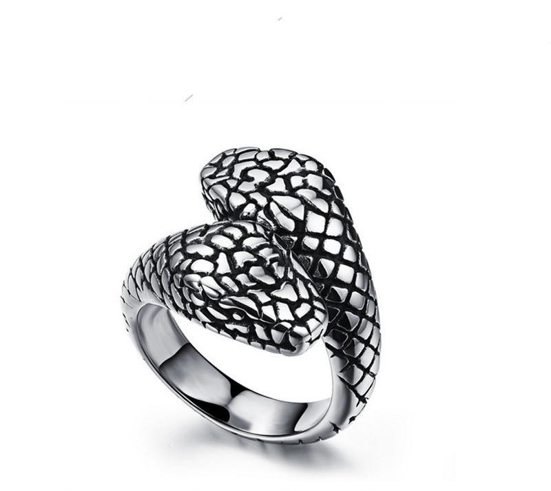 Man punk Titanium retro ring double ring stainless steel Python Gothic Rock Band personality gift Anti- allergy never fade(China (Mainland))