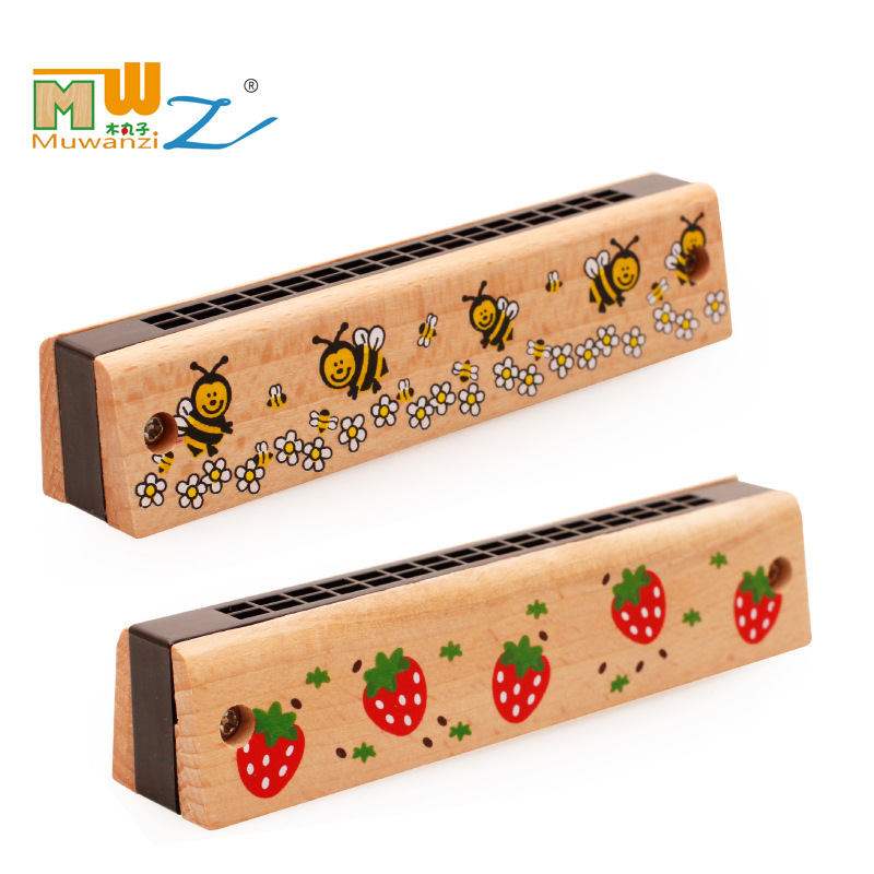 High quality Baby Toys Children's Musical Instrument Wooden Toys 16/24 Hole Harmonica Training Baby Music Listening(China (Mainland))