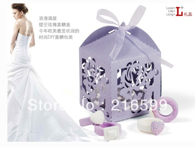New Hot sale 100pcs Light Purple Color Rose Flowers Wedding Favor boxes gift boxes candy box--Free Shipping(China (Mainland))