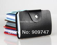 Fashion Business Credit Card Holder Bags PU Leather Strap Buckle Bank Card Bag 26 Card Case