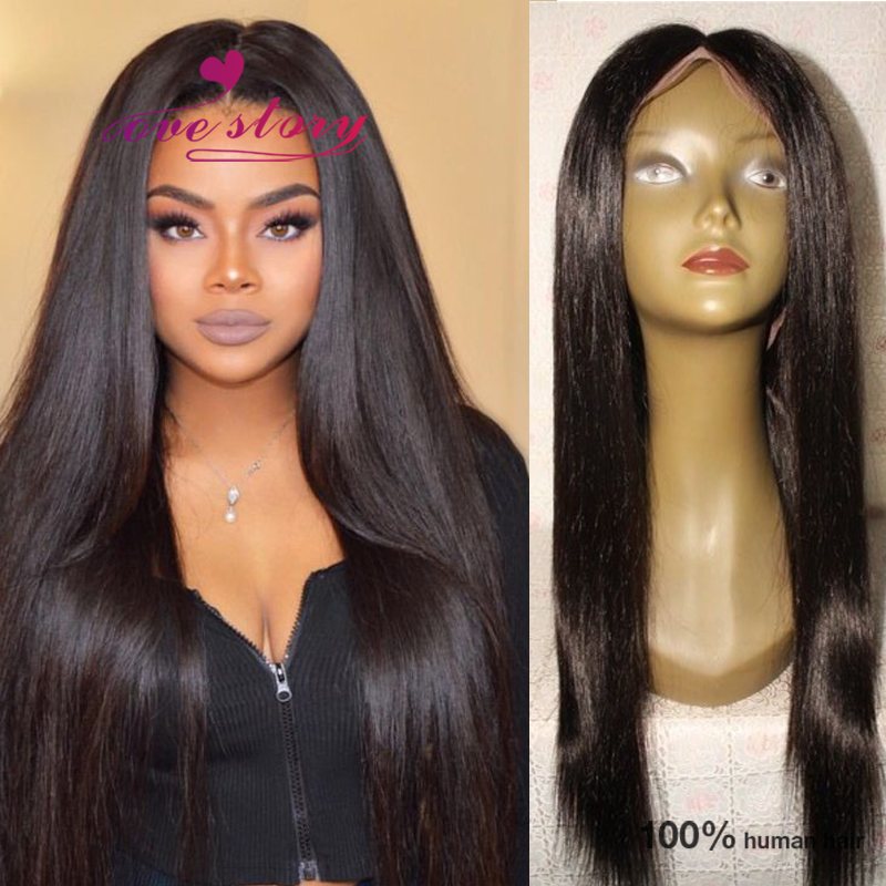 Straight glueless full lace human hair wigs with 4*4 silk top 6a brazilian virgin hair for black women 150 density free ship<br><br>Aliexpress