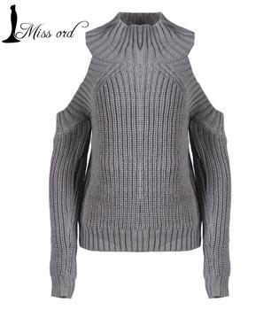 Бесплатная доставка 2015 высокий воротник хеджирования с рукавами трикотажные свитера ...