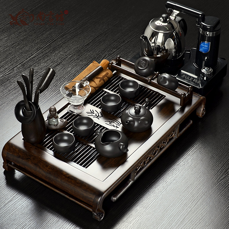 Ebony wood teaberries yixing shote rich purple kung fu tea set