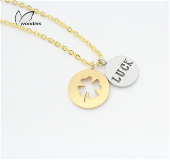 30pcs/lot-2015 Gold/Silver Dainty Valentines Day Gift Luck Letter Vintage Clover Statement Chain Necklace<br><br>Aliexpress