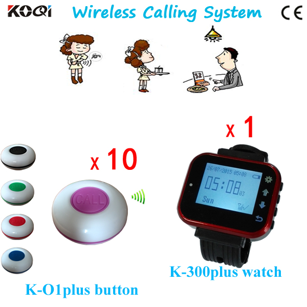 Wireless Call Bell System Cafe Kitchen Equipment Staff Pagers Table Buzzer (1 Wrist Watch 10 Call Button)(China (Mainland))