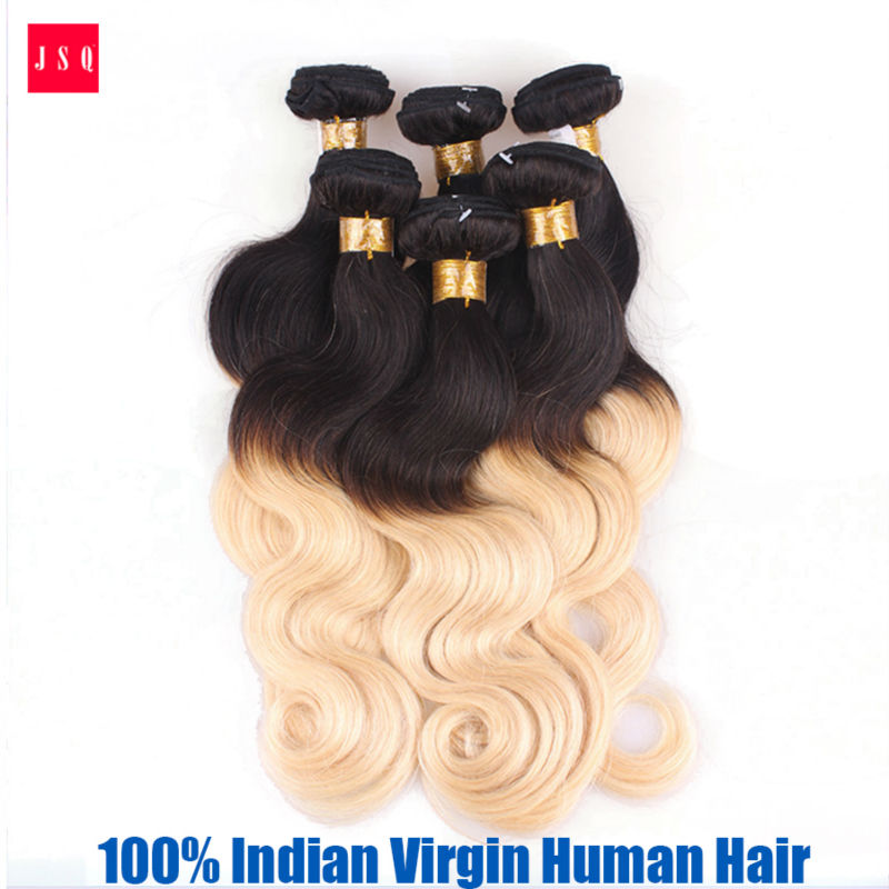 JSQ 3 Bundles Per Pack 1B 613 Ombre Hair Weft  Body Wave Black Blonde 100% Indian Living Hair Machine Weaving Free Shipping Post<br><br>Aliexpress