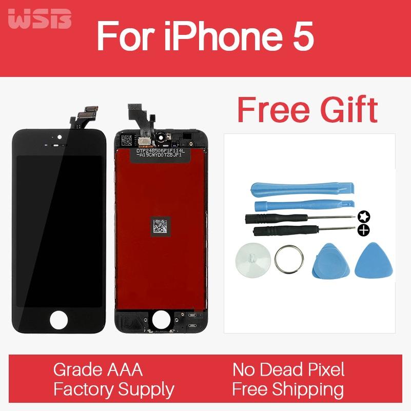 ЖК-Дисплей для iPhone5 С Сенсорным Экраном Дигитайзер Ассамблеи Замена ААА Класса Испытано Перед Перевозкой Груза Нет Dead Pixel для iPhone 5