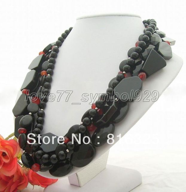 FREE SHIPPING>>Excellet! 4S Multishape Natural Onyx Carnelian Necklace(China (Mainland))