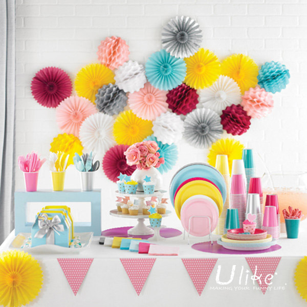10'' 100ps tissue paper fan flowers lantern Fan design cute crafts idea for birthday party decorations(China (Mainland))