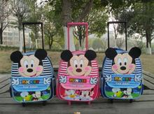 Mickey Minnie Mouse children school bags with wheels backpack child mochila infantil trolley bags shoulder kid bag &88127(China (Mainland))
