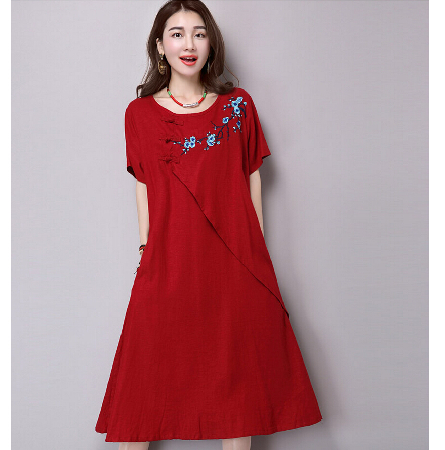 2016 Retro Folk Style Embroidered Cotton Dress Short Sleeve O-neck A-line Casual Embroidery Plus Size Girls Dresses(China (Mainland))