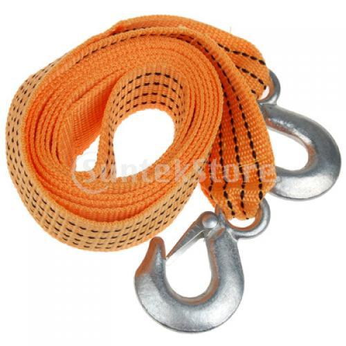 Free Shipping 9Ft 3 Tons Cars Tow Strap Trucks Pulling Rope With Forging Iron Hooks - Yellow(China (Mainland))
