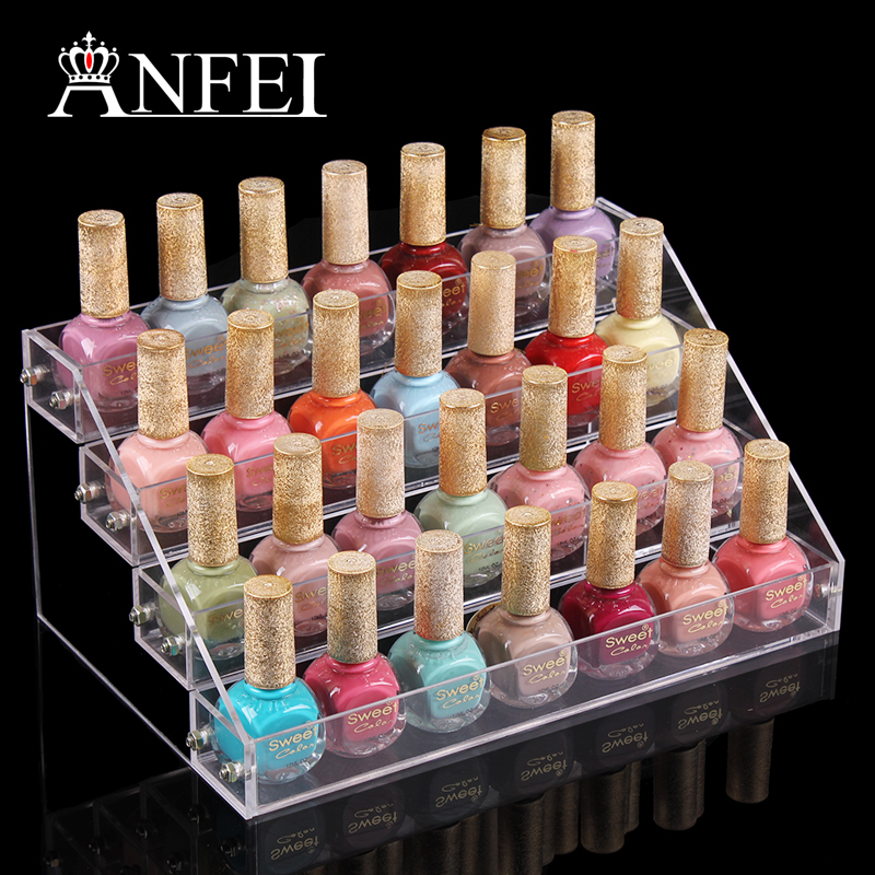 4 layers nail polish box jewerly make up organizer rack for Organiser un stand