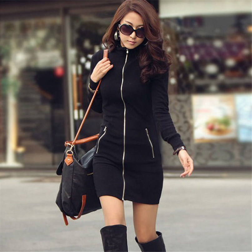 Гаджет  Women One Piece Black Slim Zipper Up Long Sleeve Bodycon Spring Autumn Mini Dress None Одежда и аксессуары