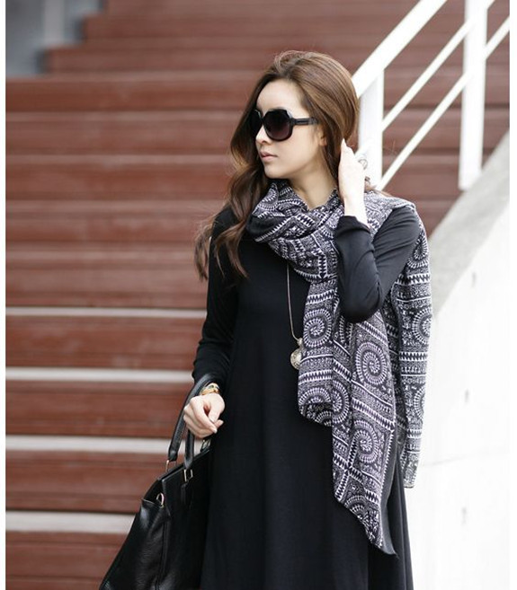 fashion high quality ancient folk style circle lattice scarf shawl cotton women s Scarves Wholesale price