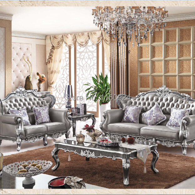 Luxury Silver Grey Oak European Style Living Room Furniture One Genuine Leat