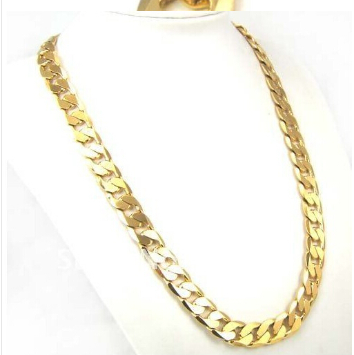 New 2015 Hot Selling 18k Gp Gold Plated Long Chain Necklace Men Gold Jewelry 24inch 10mm Necklaces(China (Mainland))
