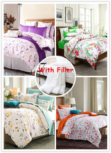 Spring/Summer style queen king comforter bedding sets 100% cotton duvet/quilt covers bed flat sheets 5 pieces bed in a bag(China (Mainland))
