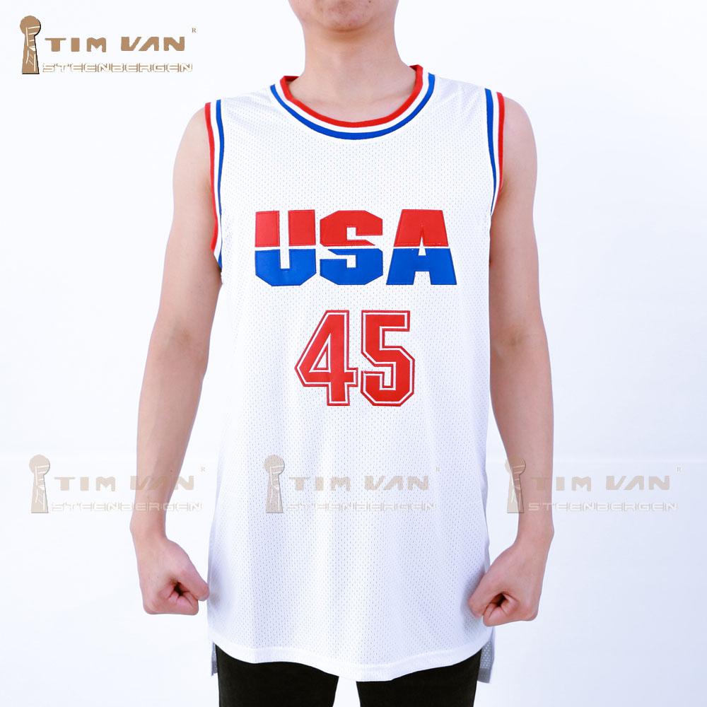 TIM VAN STEENBERGE Donald Trump 45 USA Basketball Jersey 2016 Commemorative Edition Stitched Sewn-White(China (Mainland))
