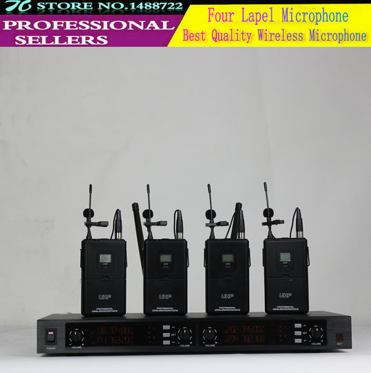 Best Quality ! Professional UHF Multe Channel Wireless Microphone For Church Schoolroom 4  Lapel Microphone<br><br>Aliexpress