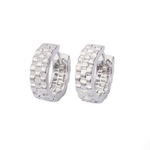 Fashion Jewelry 2014 Hiphop 18k White Gold Plated Small Hoop Earrings For Men 15mm*5mm Free Shipping(China (Mainland))