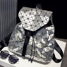 2016 BaoBao Backpack Silver Geometric Pattern Laser Hologram Sequins Folding Bags Fashion Women Daily Backpacks(China (Mainland))