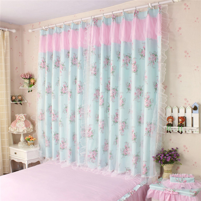Floral-Curtains-double-layers-cloth-curtain-voile-curtain