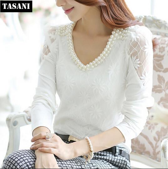 2015 Chiffon Lace Women Blouse Long Sleeve Shirts Plus Size OL V Neck Pearl Blouses Slim Tops Woman Clothing V5024 - TASANI Fashion store