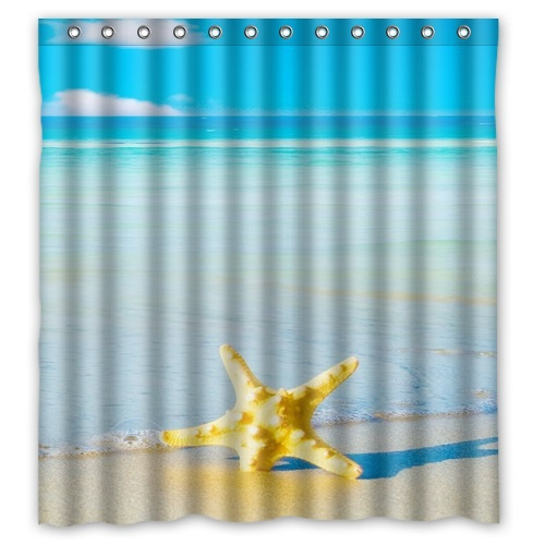 Bathroom Polyester Fabric Bath Curtain Printed Starfish On The Sandy Beach Pictures Shower Curtain 66x72'' Free Shipping(China (Mainland))