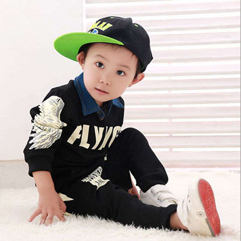 2015 Autumn New Baby Boys Childrens Clothing Sets ( Sweatshirts + Pants ) Kids Wing Printing Coats Sportswear Hip-Hop Clothes<br><br>Aliexpress